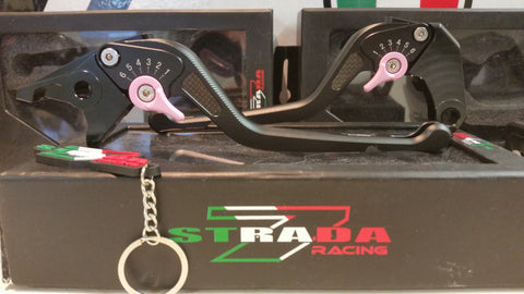 Strada 7 Racing 3D Long CNC Adjustable Brake and Clutch Levers with Carbon Fiber Inlay-Pink Splash