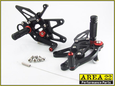 BMW S1000RR 2015+ Area 22 Adjustable Rear Sets Black