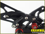 2008-2013 Honda CBR1000RR Area 22 Adjustable Rear Sets Black