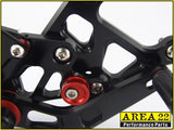 2008-2012 Honda CBR250R Area 22 Adjustable Rear Sets Footpegs Black Rearsets