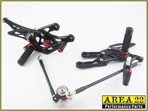 RACERS BUNDLE- Area 22 Adjustable Rear Sets Footpegs Black SPARES Included