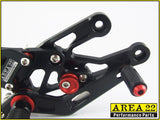 2003-2006 Honda CBR600RR Area 22 Adjustable Rear Sets Footpegs Black Rearsets