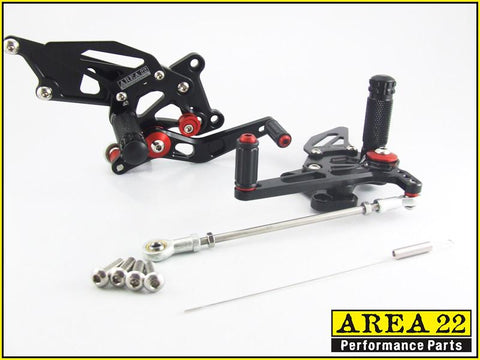 Kawasaki Ninja 250R 2008-2012 Area 22 Adjustable Rear Sets