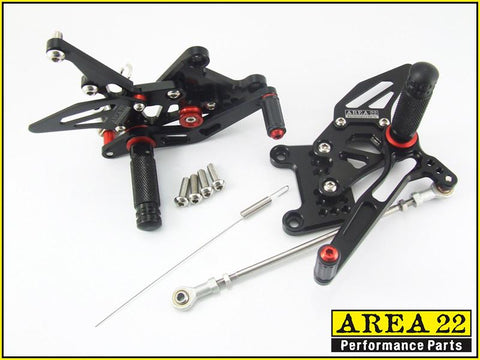 Triumph Speed Triple 1050 2005-2010 Area 22 Adjustable Rear Sets-Black
