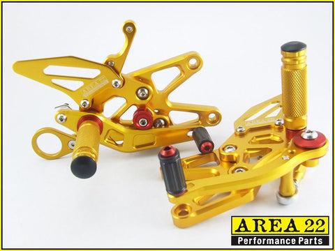 BMW S1000RR 2009-2014 Area 22 Adjustable Rear Sets-Gold