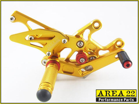 Honda CBR1000RR 2008-2013 Area 22 Adjustable Rear Sets-Gold