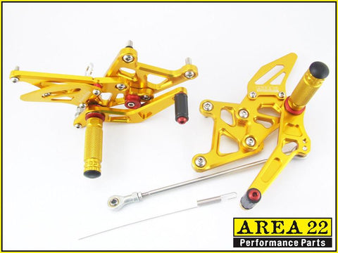 Area 22 Honda CBR250R 2011-2013 Adjustable Rear Sets Footpegs Rearsets-Gold