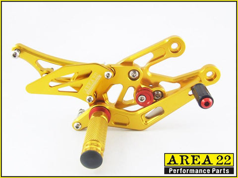 Area 22 Honda CBR600RR 2003-2006 Adjustable Rear Sets Footpegs Rearsets-Gold