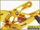 Area 22 Honda CBR1000RR 2004-2007 Adjustable Rear Sets Footpegs Rearsets-Gold