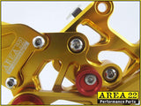Area 22 2007-2013 Honda CBR600RR CNC Adjustable Rear Sets Footpeg Rearsets-Gold