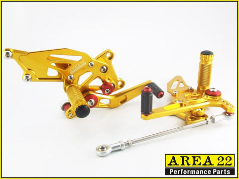 Kawasaki Ninja 250R 2008-2012 Area 22 Adjustable Rear Sets-Gold