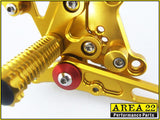 Kawasaki Ninja 300R 2013-2014 Area 22 Adjustable Rear Sets-Gold
