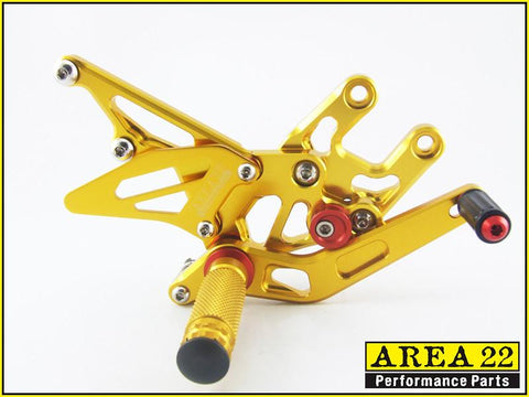 Kawasaki Ninja ZX-10R 2004-2005 Area 22 Adjustable Rear Sets-Gold