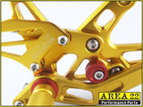 Kawasaki Ninja ZX-10R 2006-2007 Area 22 Adjustable Rear Sets-Gold