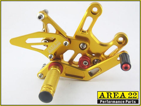 Kawasaki  Ninja ZX-10R 2008-2010 Area 22 Adjustable Rear Sets-Gold
