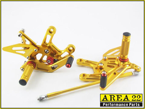 Kawasaki  Ninja ZX-10R 2011-2014 Area 22 Adjustable Rear Sets-Gold