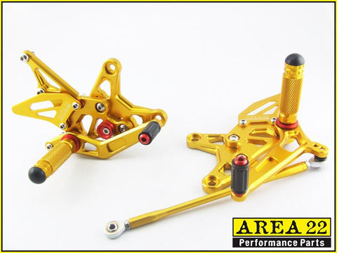 Kawasaki ZX-6R 2009-2014 Area 22 Adjustable Rear Sets-Gold