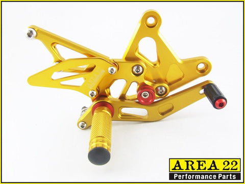 Kawasaki ZX-6R / ZX636 2005-2006 Area 22 Adjustable Rear Sets-Gold