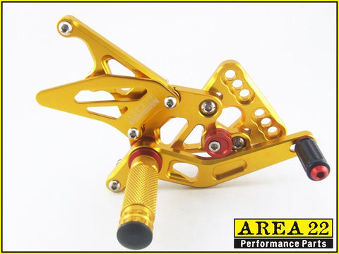 Suzuki GSX-R1000 2005-2006 Area 22 Adjustable Rear Sets-Gold