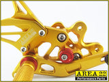 Suzuki GSXR600 GSXR750 2008-2010 Area 22 Adjustable Rear Sets-Gold