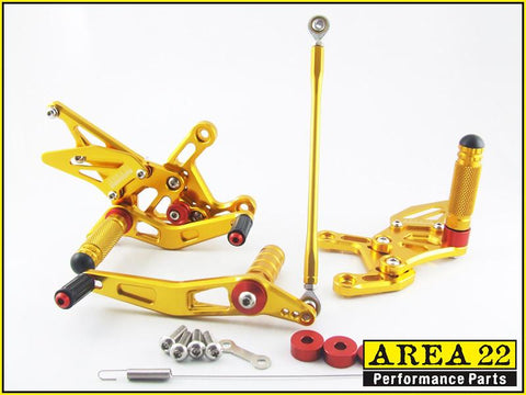 Yamaha YZF-R1 2009-2014 Area 22 Adjustable Rear Sets-Gold