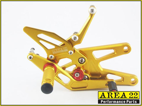 Yamaha YZF-R6 2003-2005 / R6S 2006-2009 Area 22 Adjustable Rear Sets-Gold