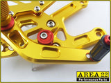Yamaha YZF-R6 2006-2014 Area 22 Adjustable Rear Sets-Gold