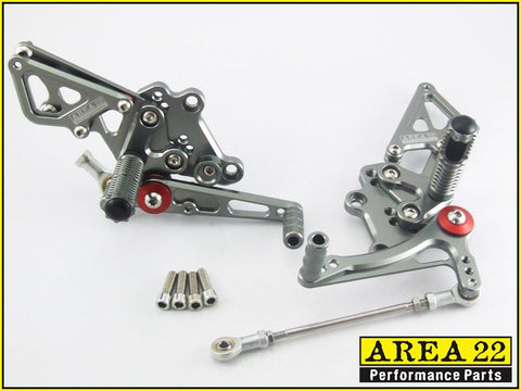 Kawasaki Ninja 300R 2013-2017 Area 22 Adjustable Rear Sets-Grey