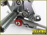 Kawasaki Ninja 300R 2013-2014 Area 22 Adjustable Rear Sets-Grey