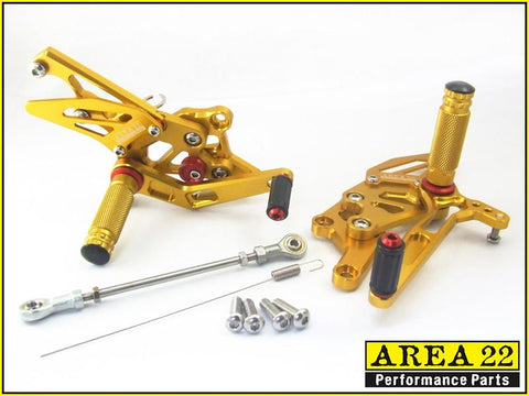 Yamaha YZF-R3 2015-2016 Area 22 Adjustable Rear Sets-Gold