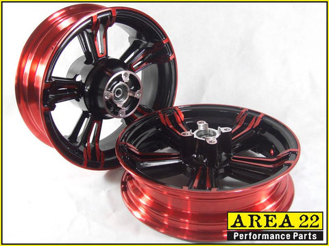 Area 22 - 2014 2015 Honda MSX125 Grom Type 2 Custom Wide Mag Wheels Rims Red