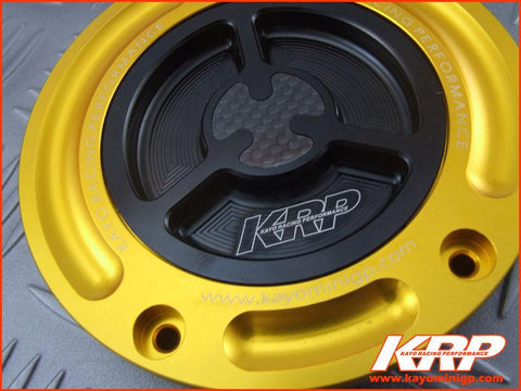 KRP-CNC Aluminium Keyless Fuel Cap with Carbon Fiber -Gold for Kayo MiniGP MR150 MR250
