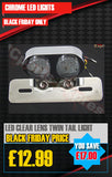 CHROME TWIN STOP/TAIL LED LIGHT RED-CLEAR LENS
