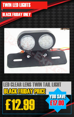 BLACK TWIN STOP/TAIL LED LIGHT RED-CLEAR LENS