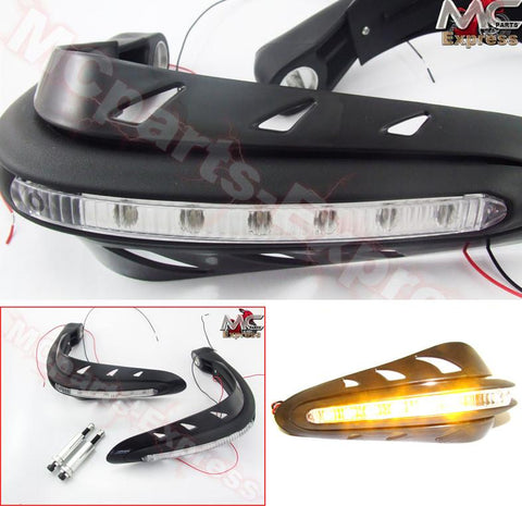 Universal Motorcycle LED Hand Guards Protectors -Black