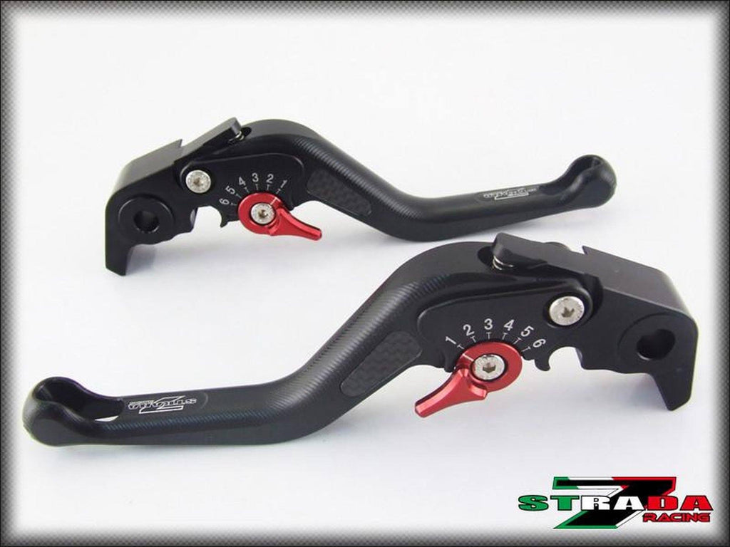 Strada 7 Racing 3D Short CNC Adjustable Levers with Carbon Fiber Inlay For Aprilia Motorcycles