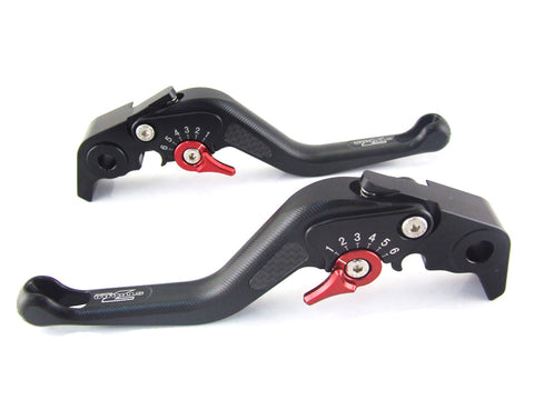 Strada 7 Racing 3D Short CNC Adjustable Brake and Clutch Levers with Carbon Fiber Inlay (8 Colours)