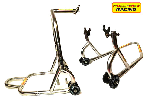 FULL-REV RACING Pro FRONT & REAR Paddock Stand Stainless Steel- WARRANTY INC