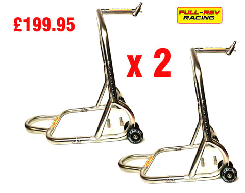 FULL-REV RACING Pro Motorcycle FRONT Paddock Stand Stainless Steel x 2