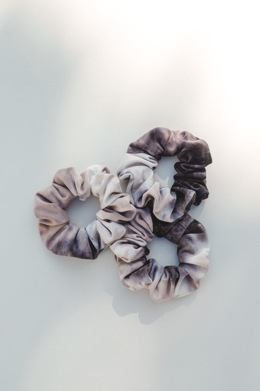 White + Grey Tie Dye Scrunchie