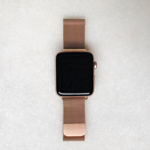 Time To Go Mesh Band - Rose Gold