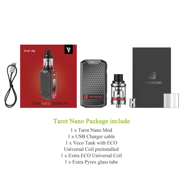 Vaporesso Tarot Nano Kit Box Contents