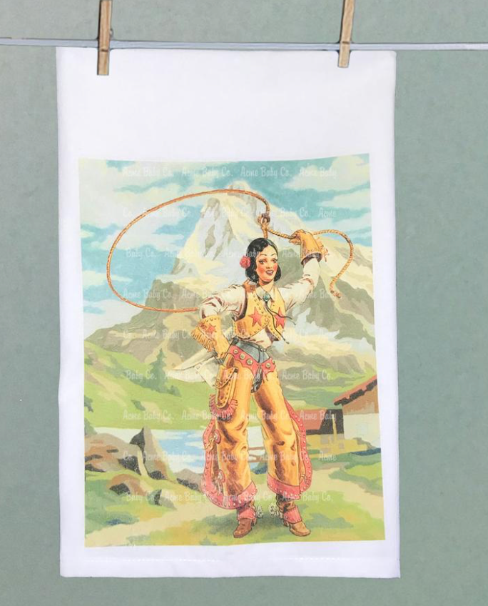 Retro Cowgirl Tea Towel