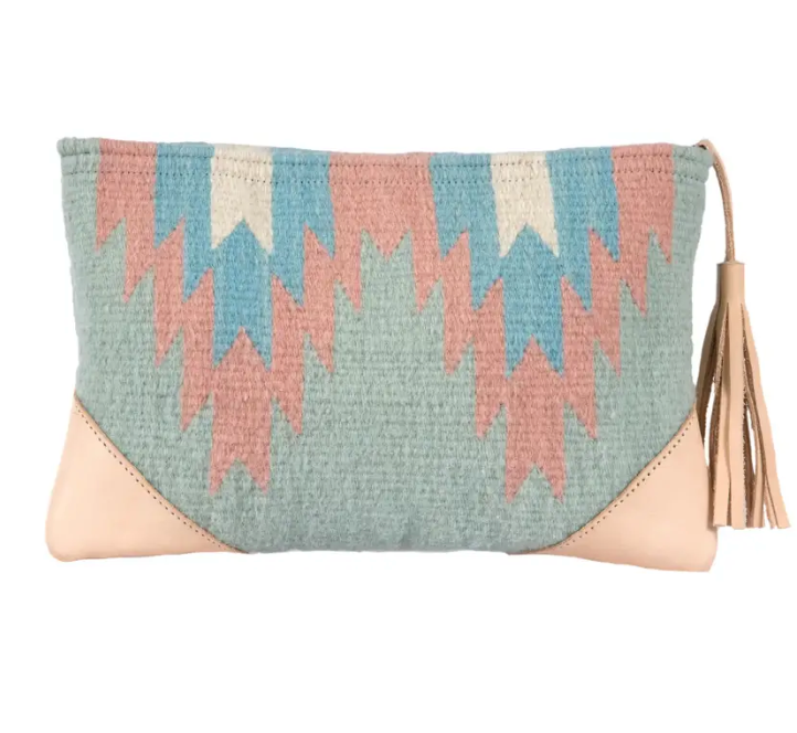Agave Leather and Wool Clutch
