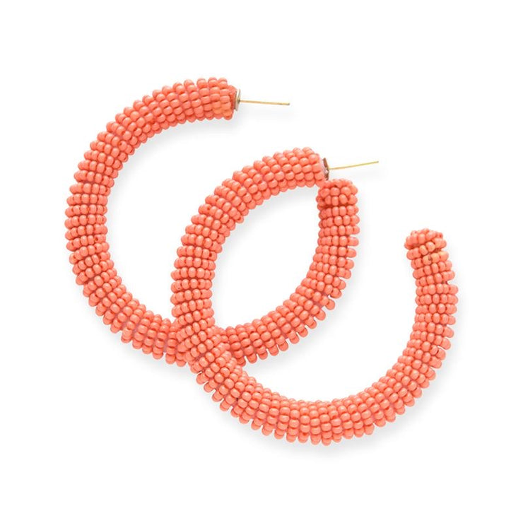 Coral Solid Seed Bead Hoops