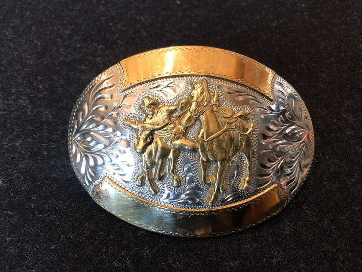 Steer wrestling Gold and Silver Buckle