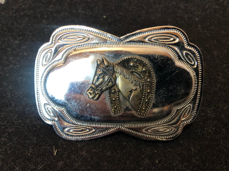 Vintage Inspired Silver and Brass Horse Head Buckle