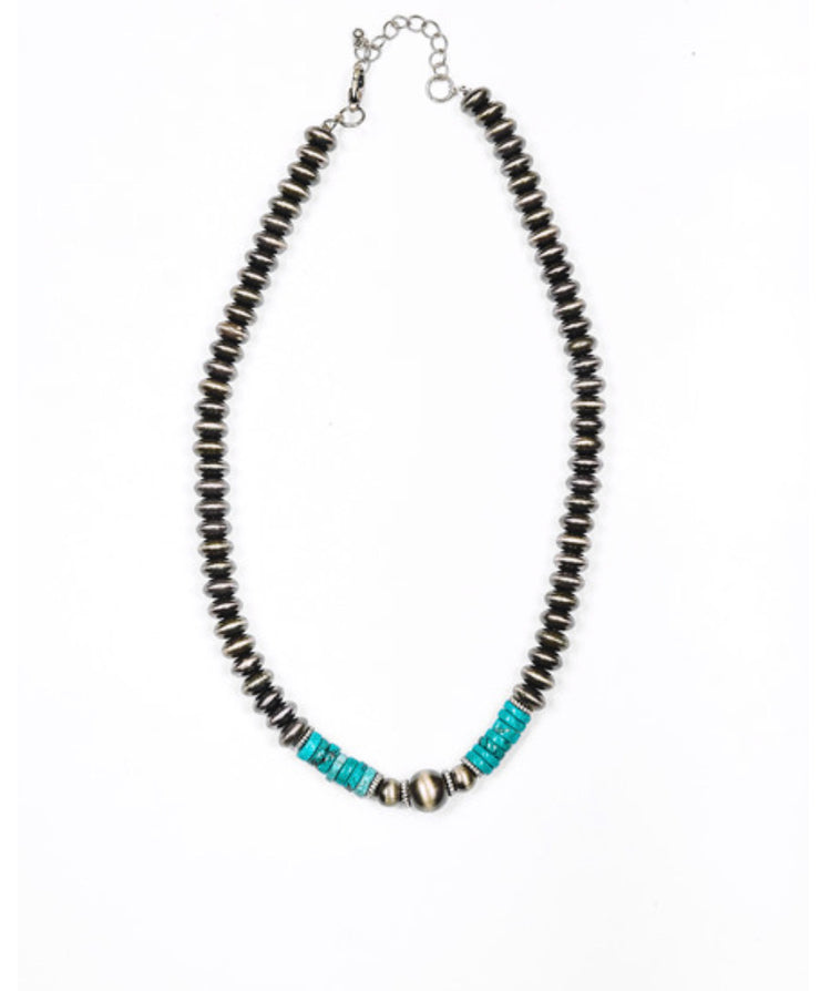 Small Silver Beaded + Turquoise Necklace