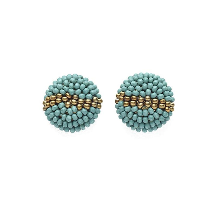 Teal and Gold Button Studs