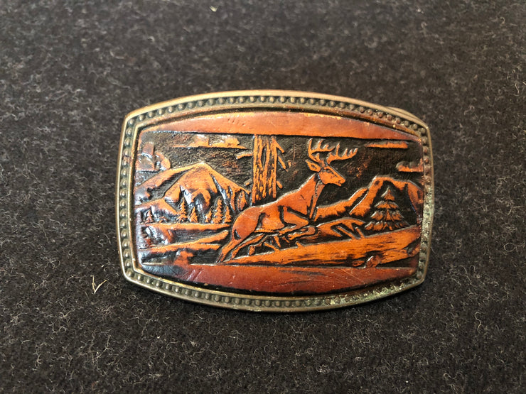 Vintage Leather and Brass Deer Buckle